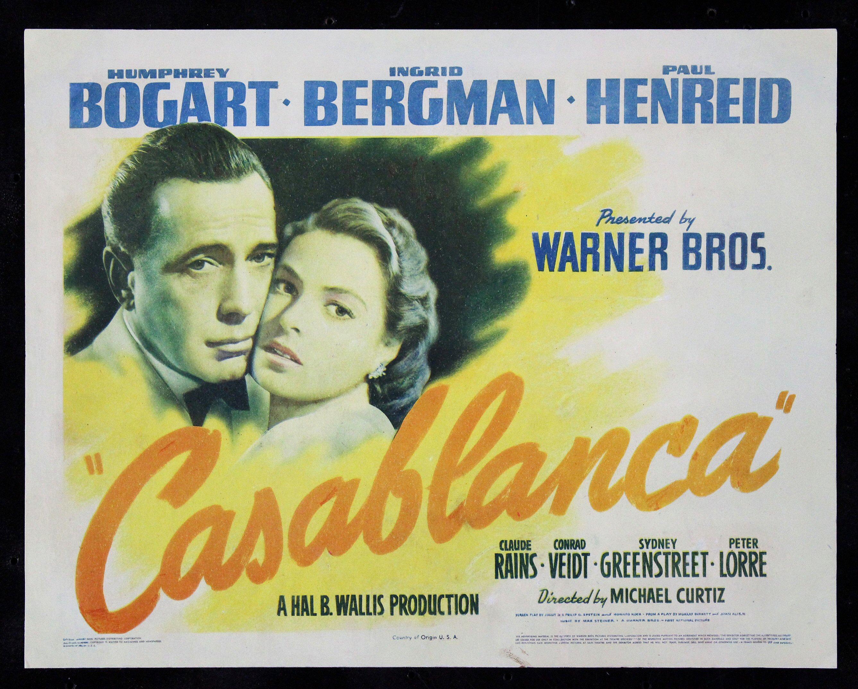 CASABLANCA * CineMasterpieces ORIGINAL MOVIE POSTER TITLE ...